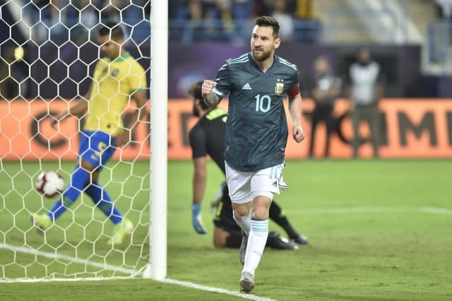 Argentina captain Lionel Messi was on target in his side's 1-0 friendly win over Brazil in Riyadh on Friday (AP)