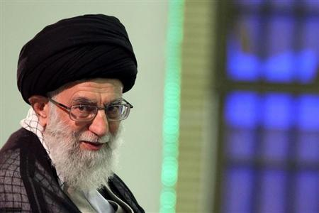 Iran's supreme leader Ayatollah Ali Khamenei attends a meeting with high-ranking officials in Tehran