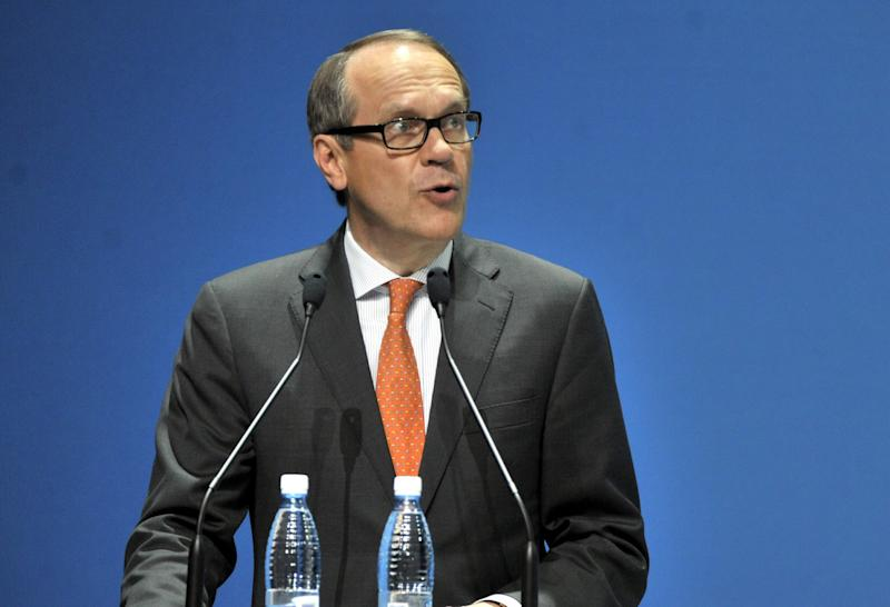 Nokia's outgoing Chairman of the Board Jorma Ollila speaks during the Annual General meeting of Nokia Corporation in Helsinki, Finland Thursday May 3, 2012.  Nokia says it has filed claims in the United States and Germany alleging that products from HTC Corp., Research in Motion and Viewsonic Corp. infringe a number of Nokia patents.   (AP Photo/Lehtikuva/ Kimmo Mantyla)    FINLAND OUT