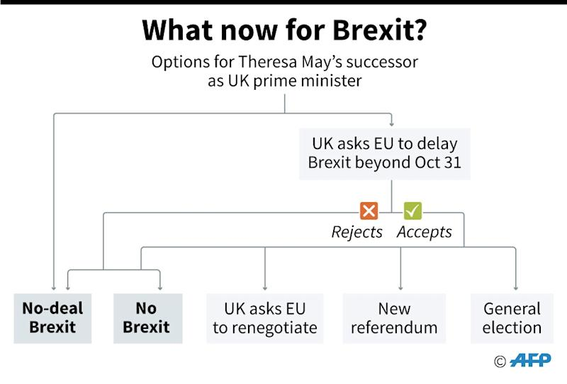 Flow chart showing what might happen next in the Brexit process (AFP Photo/Gillian HANDYSIDE)