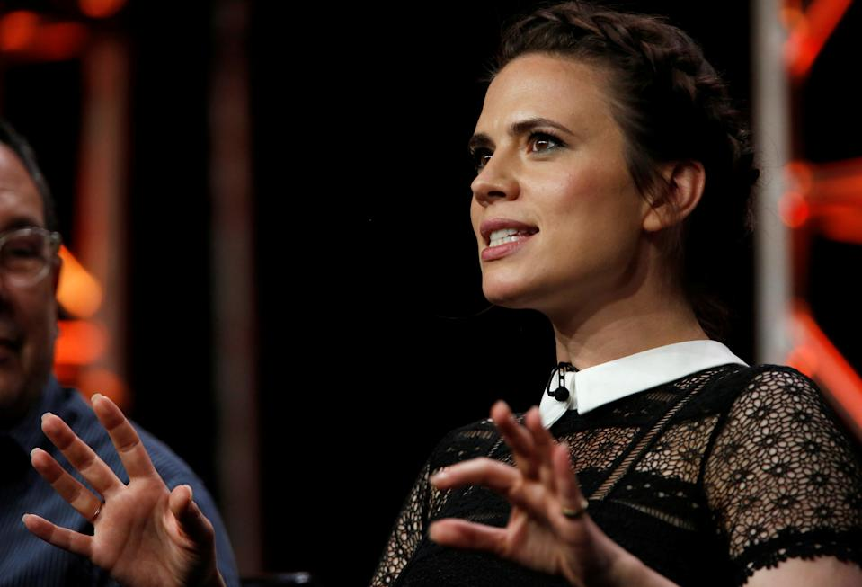 """Cast member Hayley Atwell speaks at a panel for the television series """"Conviction"""" during the TCA Disney ABC Summer Press Tour in Beverly Hills, California U.S., August 4, 2016.   REUTERS/Mario Anzuoni"""