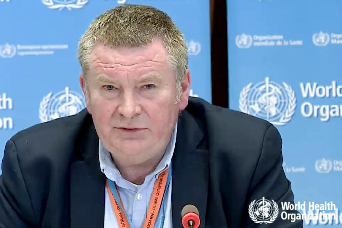 """A tv grab taken from the World Health Organization website shows World Health Organization (WHO) Health Emergencies Programme Director Michael Ryan delivering a virtual news briefing on COVID-19 (novel coronavirus) at the WHO headquarters in Geneva on March 23, 2020. - The new coronavirus pandemic is clearly """"accelerating"""", WHO chief warned on March 23, 2020, but stressed it was still possible to """"change the trajectory"""" of the outbreak. (Photo by - / AFP) (Photo by -/AFP via Getty Images)"""