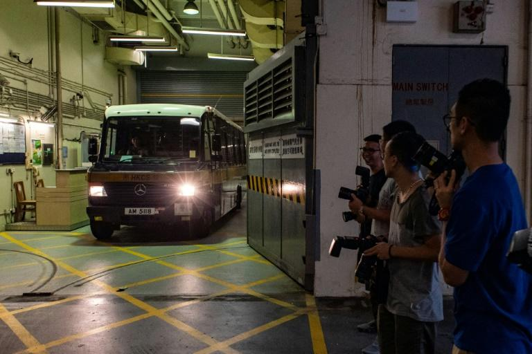 A prison van  transporting Khaw leaves court last month