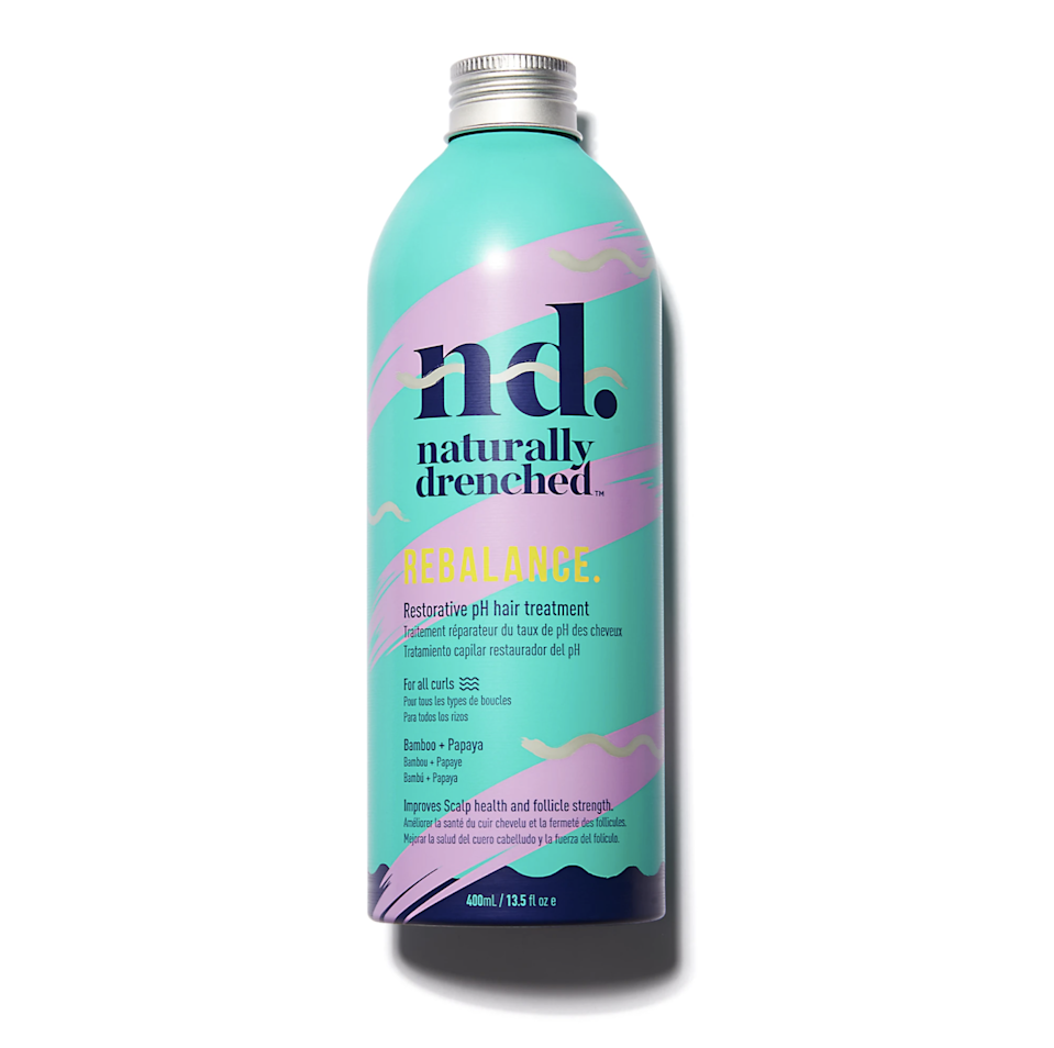 """Powell loves Naturally Drenched's Rebalance to restore hair's pH and increase hydration. """"Aloe vera, honey, and glycerin are humectants,"""" she says. """"Which are all great ingredients for keeping low-porosity hair healthy and hydrated."""" After shampooing, work Rebalance through sections of hair before applying your conditioner."""