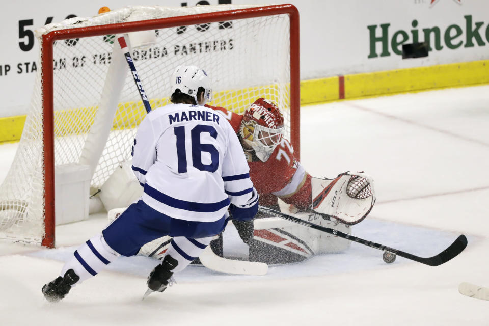 Toronto Maple Leafs right wing Mitchell Marner (16) attempts a shot at Florida Panthers goaltender Sergei Bobrovsky during the second period of an NHL hockey game Thursday, Feb. 27, 2020, in Sunrise, Fla. (AP Photo/Wilfredo Lee)