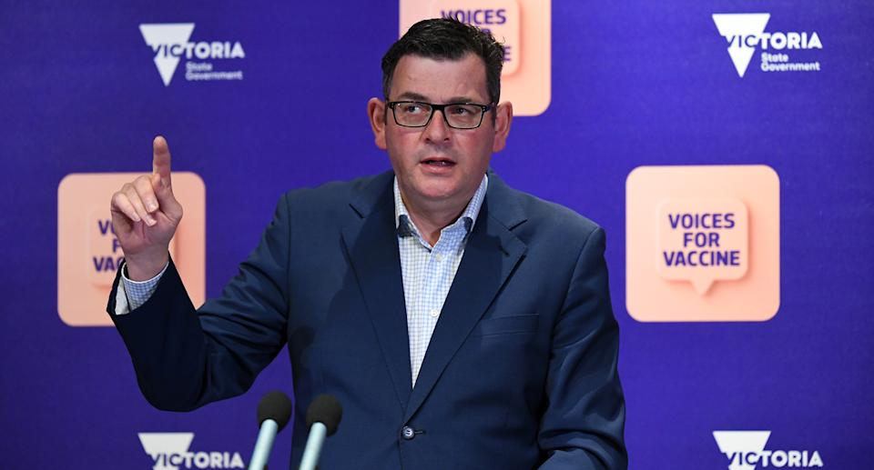 Victorian Premier Daniel Andrews addresses the media during a press conference in Melbourne, Friday, October 1, 2021. Source: AAP