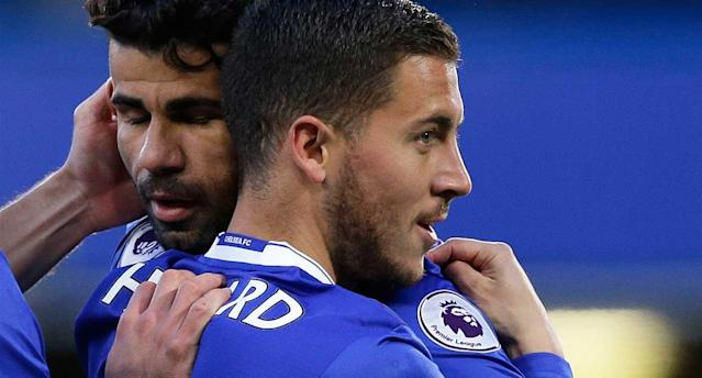 Hazard and the Blues will celebrate a title if they win at West Brom. (AP Photo)