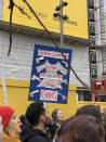 <p>A protest sign in London.<br> (Photo: Erin Donnelly) </p>