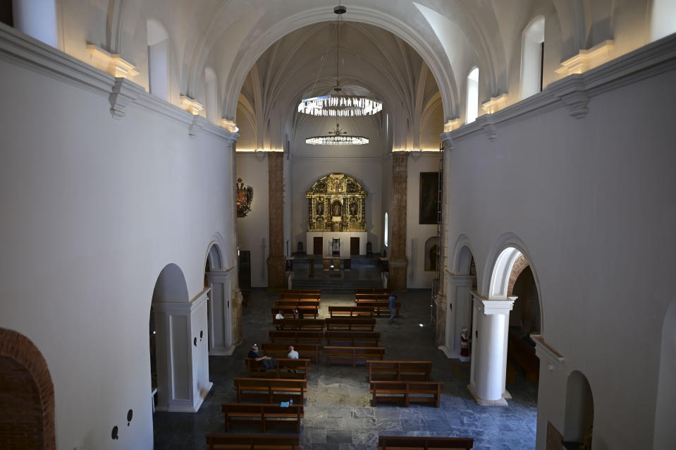The San Jose Church, the second oldest Spanish church in the Americas, stands in San Juan, Puerto Rico, Tuesday, March 9, 2021. Following massive reconstruction that took nearly two decades to complete, the 16th-century church officially reopens on March 19. (AP Photo/Carlos Giusti)