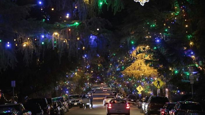 LOS ANGELES - DECEMBER 9, 2018: Motorists cruise Santa Rosa Avenue, better known as Christmas Tree Lane, in Altadena, California to view the 0.7 mile of deodar cedar trees that have been lit by community volunteers annually since 1920. In 1990, the lane was designated as California Historical Landmark No. 990. (Calvin B. Alagot / Los Angeles Times)