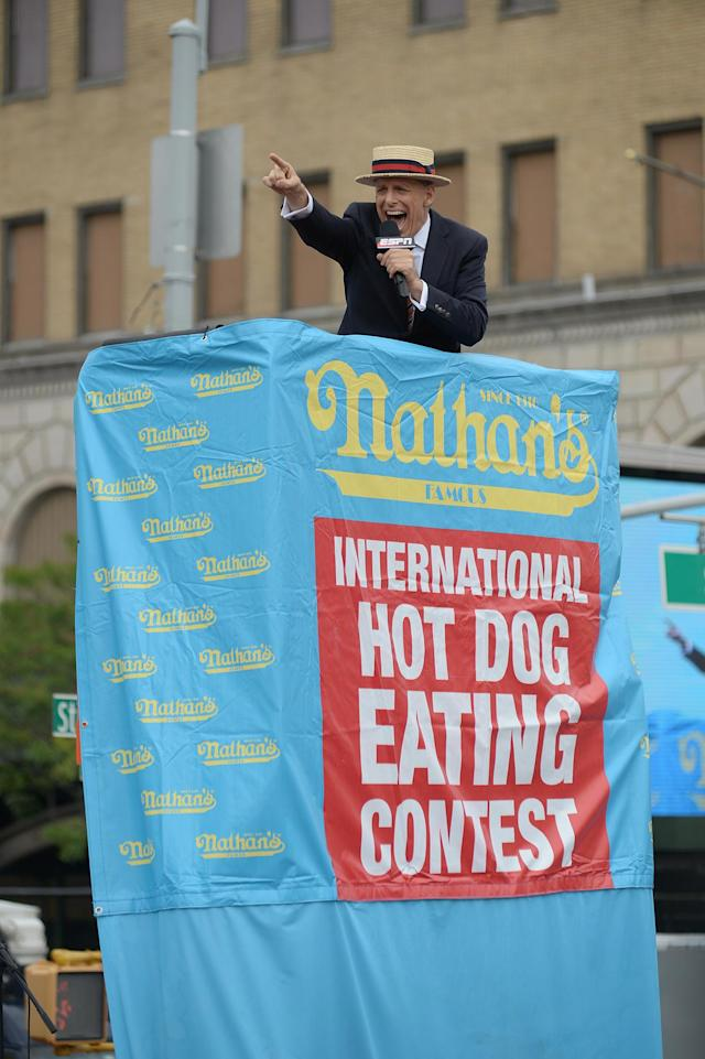 <p>George Shea kicks of the Nathan's Famous Fourth of July International Hot Dog-Eating Contest at Coney Island in Brooklyn, New York City, U.S., July 4, 2017. (Erik Pendzich/REX/Shutterstock) </p>