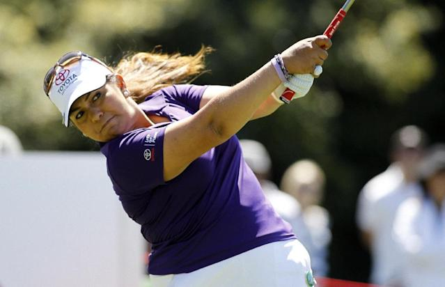 Lizette Salas hits her tee shot on the second hole during the final round of the LPGA Kia Classic golf tournament in Carlsbad, Calif., Sunday, March 30, 2014. (AP Photo/Alex Gallardo)