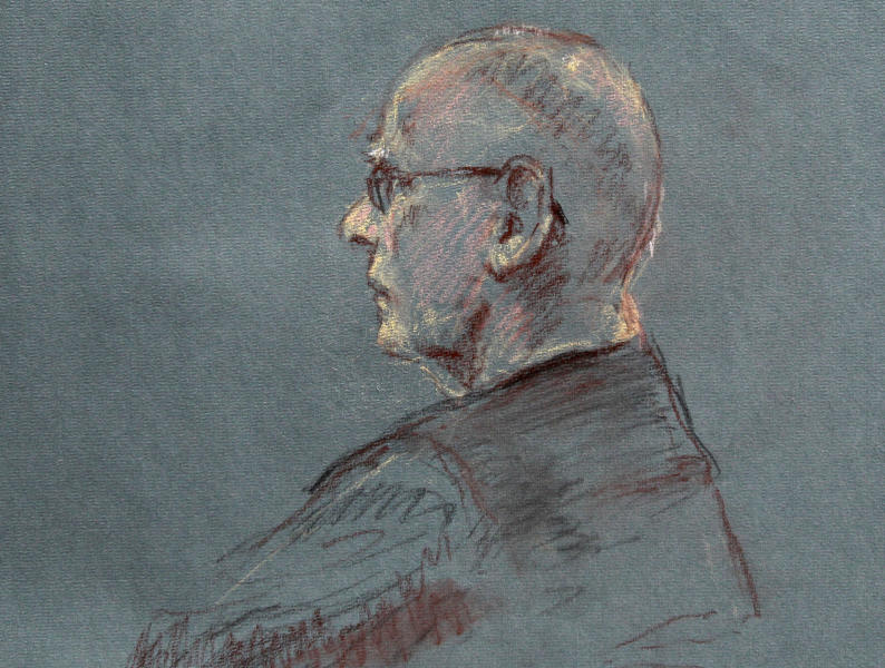 """This courtroom sketch depicts James """"Whitey"""" Bulger at the beginning of jury selection for his trial in U.S. District Court in Boston, Tuesday, June 4, 2013. Bulger faces a long list of crimes, including playing a role in 19 killings. He spent more than 16 years on the run before being captured in Santa Monica, Calif., in 2011. (AP Photo/Margaret Small)"""