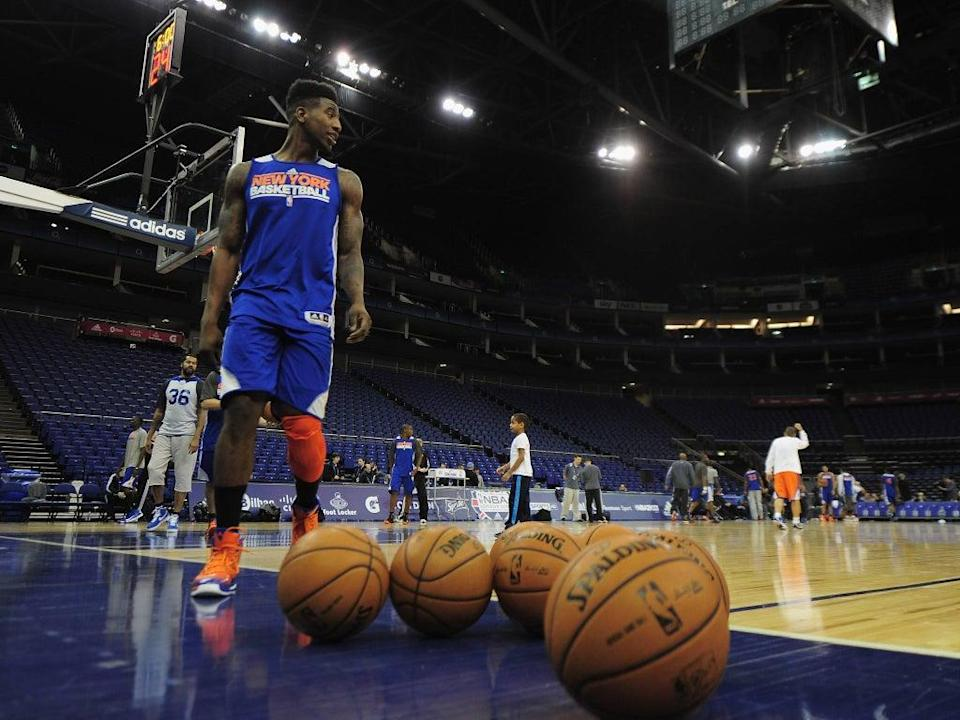 Shumpert Iman of the New York Knicks looks on during a New York Nicks trainning session prior to their NBA London Live 2013 game (GETTY IMAGES)