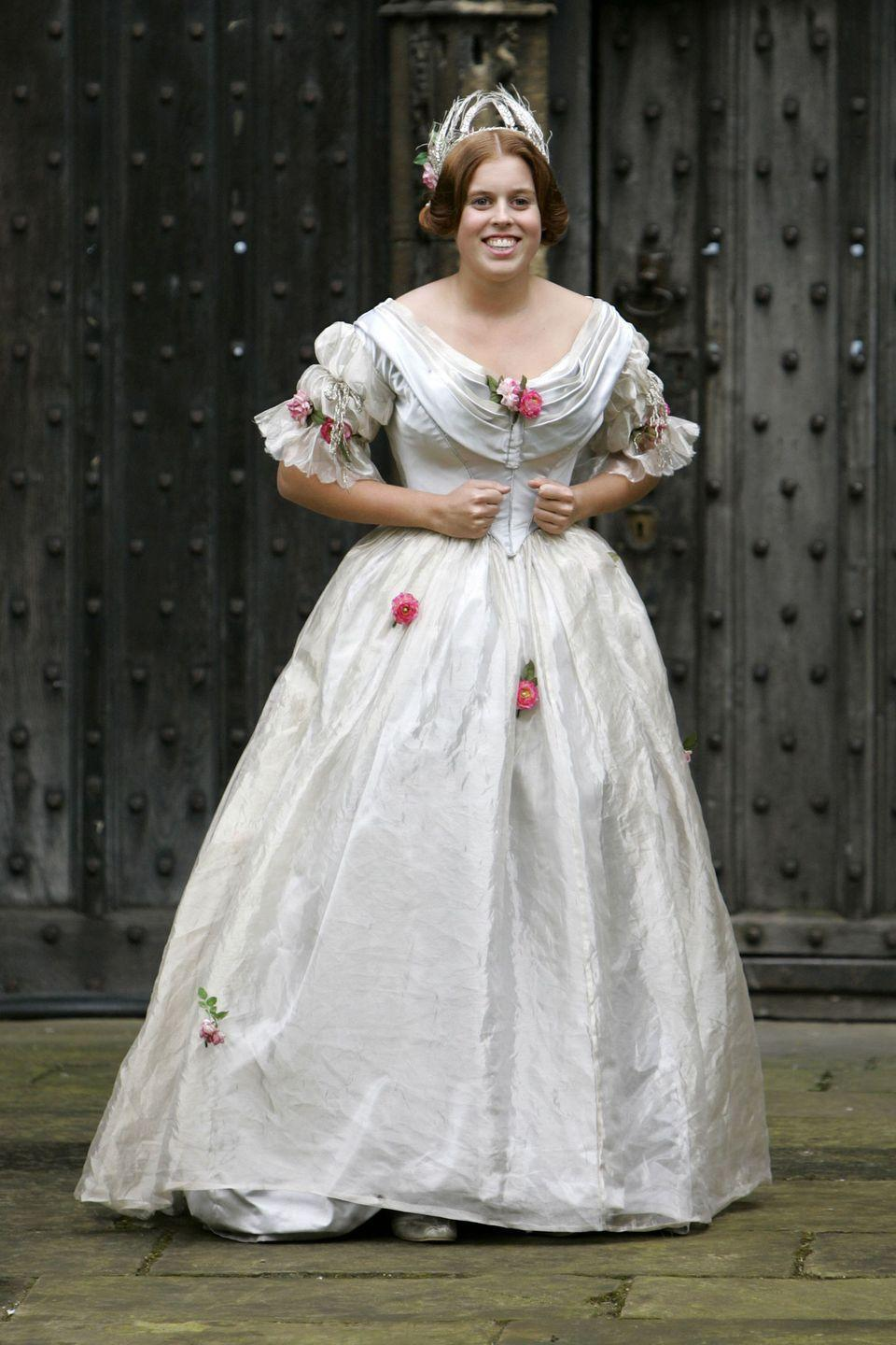 <p>Princess Beatrice dressed in a Victorian gown for her role as a ladying-in-waiting in <em>The Young Victoria</em>. </p>