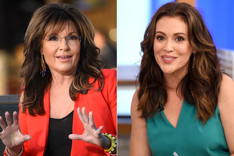 Sarah Palin Brings Her Kids Into MAGA Argument with Alyssa Milano After Actress Compares the Hats to KKK Hoods