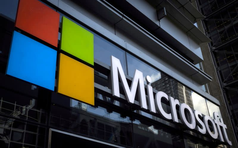 FILE PHOTO: Microsoft logo on an office building in New York, U.S.