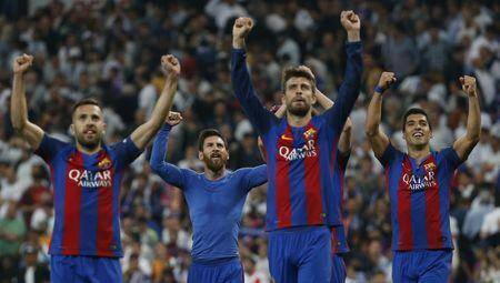 Football Soccer - Real Madrid v FC Barcelona - Spanish Liga Santander - Santiago Bernabeu, Madrid, Spain - 23/4/17 Barcelona players celebrate after the match Reuters / Susana Vera Livepic