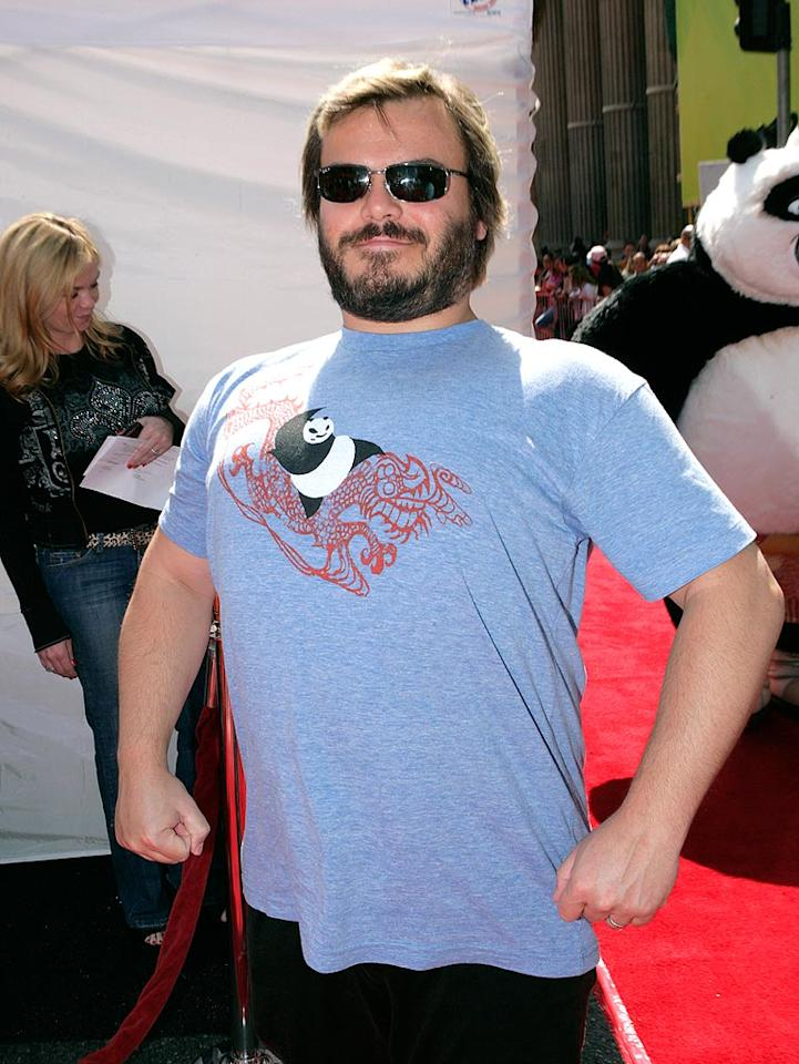 "Funnyman Jack Black is nearly as furry as the animated bear he plays in ""Kung Fu Panda""! Todd Williamson/<a href=""http://www.wireimage.com"" target=""new"">WireImage.com</a> - June 1, 2008"
