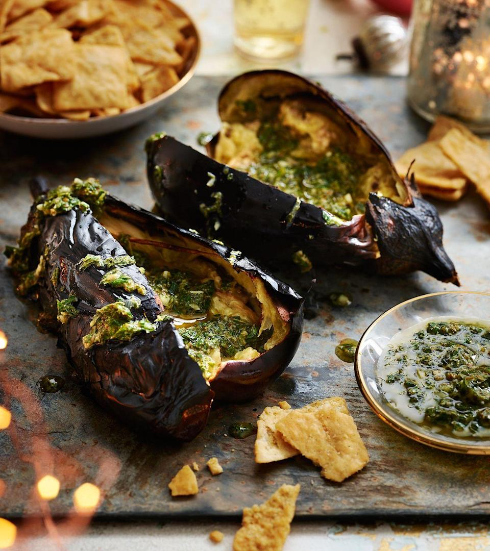 """<p>Who says a dip has to be in a bowl? Our take on baba ghanoush uses grilled whole aubergines which yields a soft and smokey flesh for a superb self-contained dip.</p><p><strong>Recipe: <a href=""""https://www.goodhousekeeping.com/uk/food/recipes/a25625610/baba-ghanoush/"""" rel=""""nofollow noopener"""" target=""""_blank"""" data-ylk=""""slk:Whole aubergine baba ghanoush"""" class=""""link rapid-noclick-resp"""">Whole aubergine baba ghanoush</a></strong></p>"""