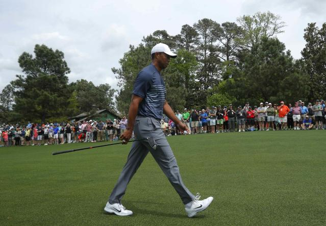 Tiger Woods of the U.S. walks up the 7th fairway during the final day of practice for the 2018 Masters golf tournament at Augusta National Golf Club in Augusta, Georgia, U.S. April 4, 2018. REUTERS/Brian Snyder