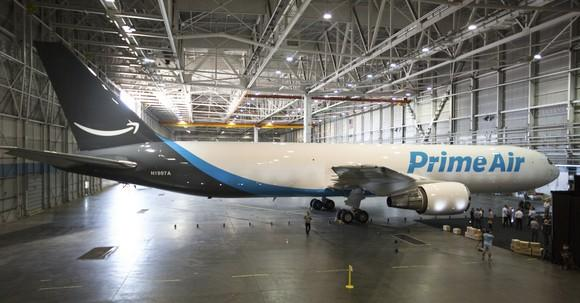 Amazon Prime Air plane in a hanger.
