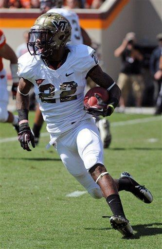 Virginia Tech tailback Tony Gregory (22) runs the ball against Bowling Green during the first half of an NCAA college football game Saturday, Sept. 22, 2012 at Lane Stadium, in Blacksburg, Va. (AP Photo/Don Petersen)