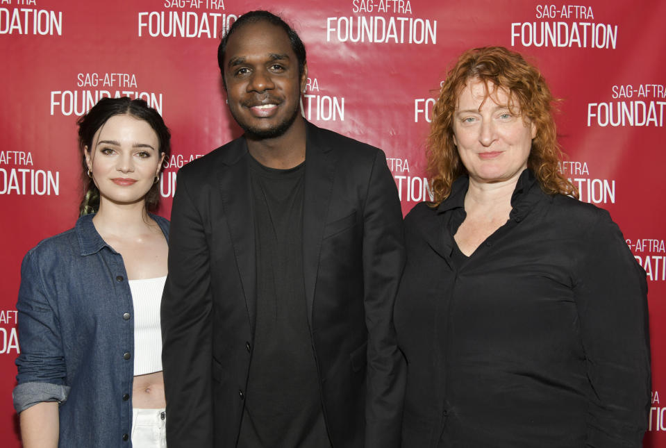 """Aisling Franciosi, Baykali Ganambarr, and Jennifer Kent pose for portrait at SAG-AFTRA Foundation Conversations with """"The Nightingale"""". (Photo by Rodin Eckenroth/Getty Images)"""