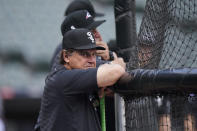 Chicago White Sox manager Tony La Russa watches at the batting cage before Game 3 of an baseball American League Division Series against the Houston Astros, Sunday, Oct. 10, 2021, in Chicago. (AP Photo/Nam Y. Huh)