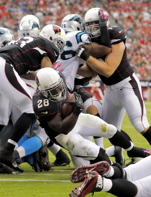 Arizona Cardinals running back Rashard Mendenhall (28) scores a touchdown against the Carolina Panthers during the second half of a NFL football game, Sunday, Oct. 6, 2013, in Glendale, Ariz. (AP Photo/Matt York)