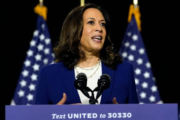 Sen. Kamala Harris, D-Calif., speaks after former Vice President Joe Biden introduced her as his running mate during a campaign event in Wilmington, Del., Wednesday, Aug. 12, 2020.