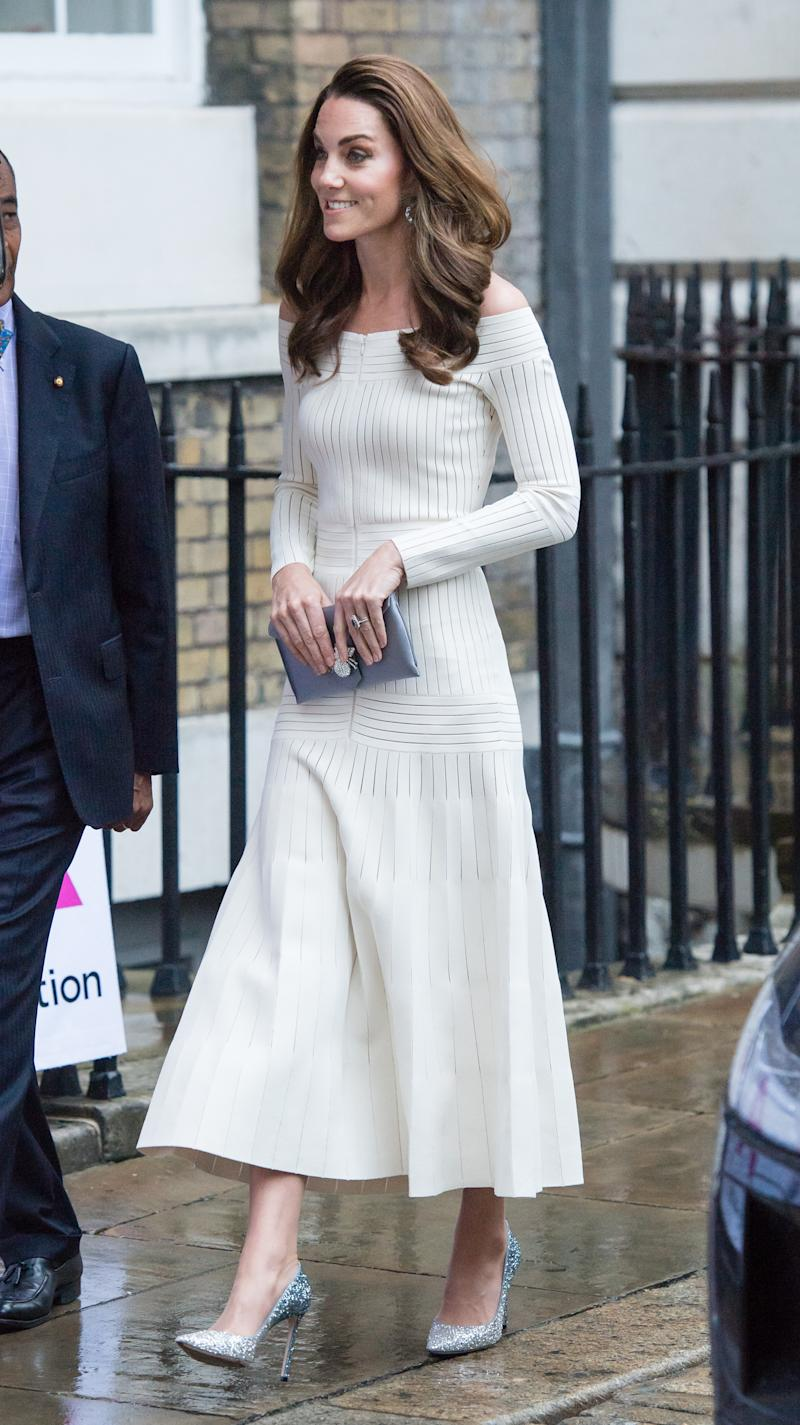 The Duchess of Cambridge recycled a Barbara Casasola dress for the prestigious dinner [Photo: Getty]