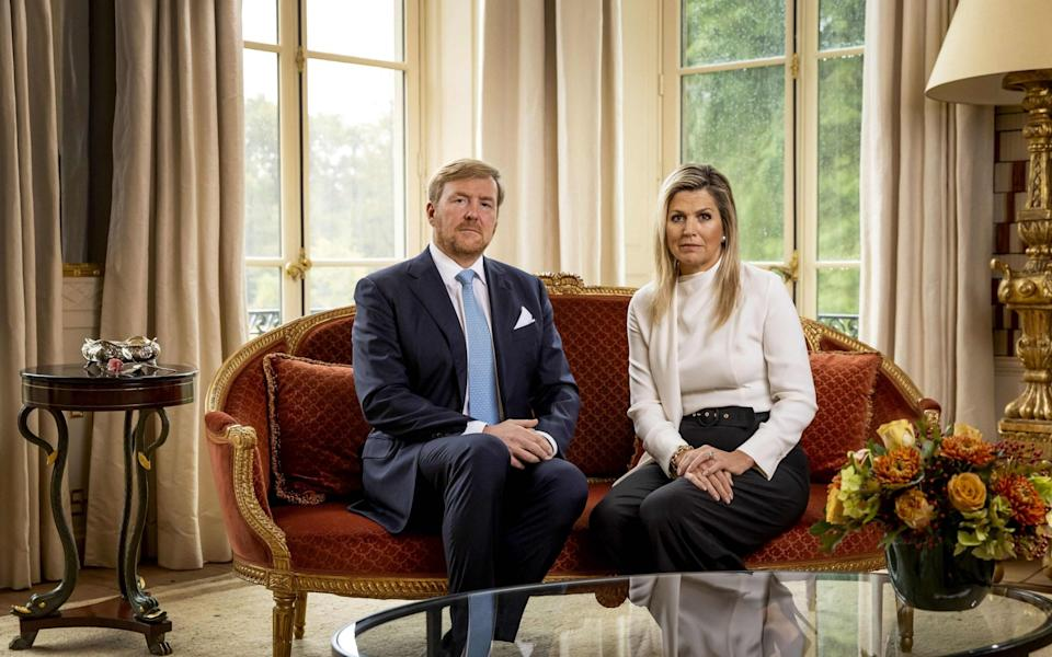 Dutch King Willem-Alexander and Queen Maxima take part in the recording of a personal video message in which the king discusses the cancellation of their holiday to Greece, on October 21, 2020 in The Hague - Koen van Weel/ANP/AFP via Getty Images