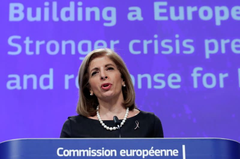 European Health Commissioner Stella Kyriakides holds a news conference at EU Commission headquarters in Brussels