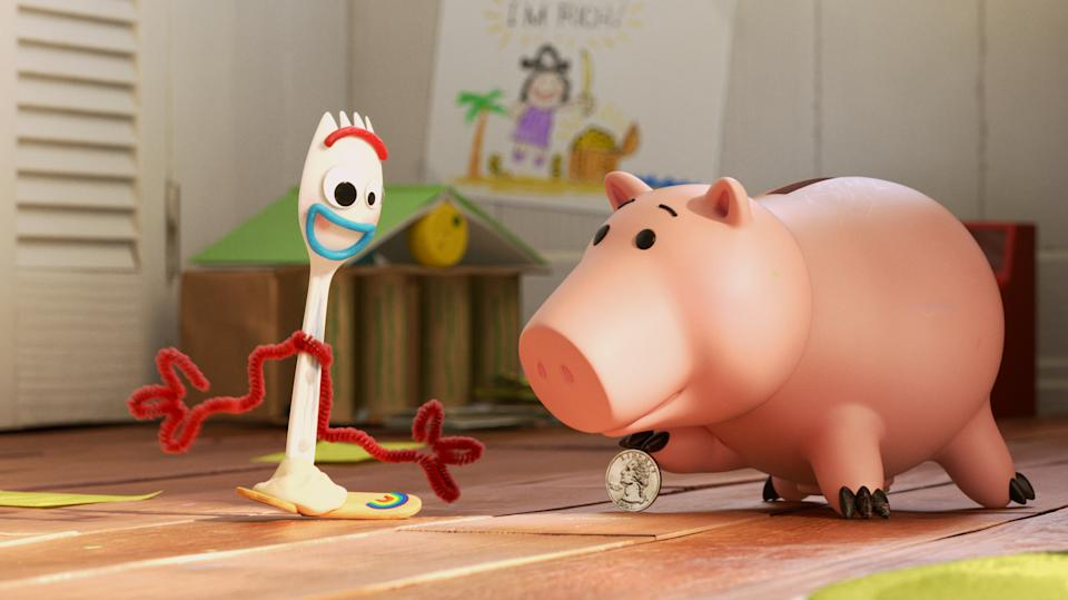 Forky (Tony Hale) and Hamm (John Ratzenberger) in a still from Pixar's Disney+ Original series <i>Forky Asks A Question</i>. (Disney)