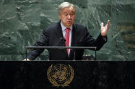 United Nations Secretary General Antonio Guterres addresses the 76th Session of the U.N. General Assembly, Tuesday, Sept. 21, 2021, at United Nations headquarters in New York. (Eduardo Munoz/Pool Photo via AP)