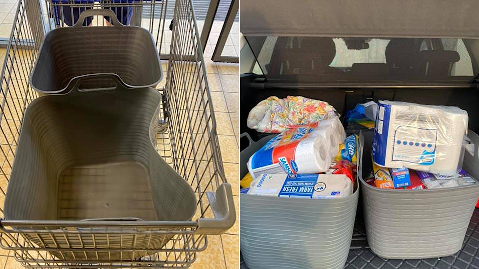 Pictured are the two tubs in the cart and then in the woman's car. Source: Facebook