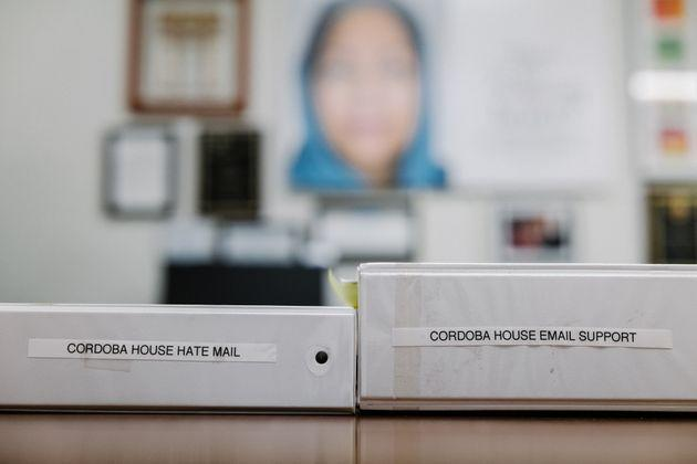 Binders of both hate mail and support letters in Daisy Khan's office. (Photo: Ryan Christopher Jones for HuffPost)