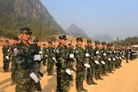 Fighters from the Karen National Union (pictured) have clashed with the military in their territory along Myanmar's eastern border