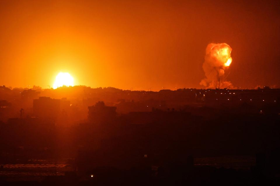 Fire billows from Israeli air strikes in Rafah, in the southern Gaza Strip, (AFP via Getty Images)