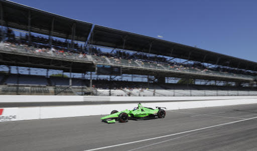 Danica Patrick drives out of the pit area during the final practice session for the IndyCar Indianapolis 500 auto race at Indianapolis Motor Speedway, in Indianapolis Friday, May 25, 2018. (AP Photo/Darron Cummings)