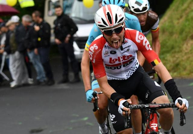 'Needed a miracle': Belgium's Bjorg Lambrecht taking part in the Criterium du Dauphine race in June (AFP Photo/Anne-Christine POUJOULAT )