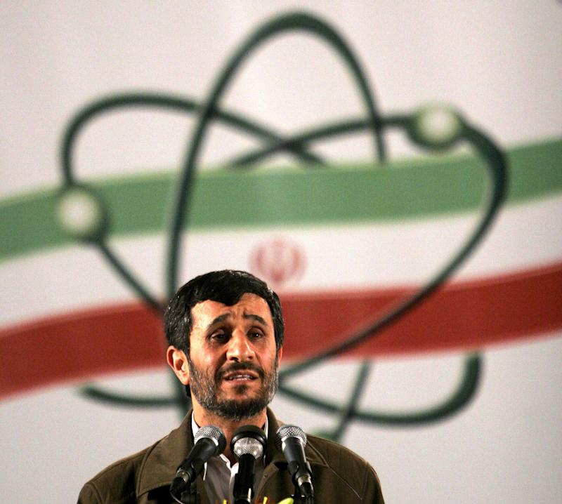 FILE- In this April, 9, 2007, file photo Iranian President Mahmoud Ahmadinejad, speaks at a ceremony in Iran's nuclear enrichment facility in Natanz, 300 kms 186 (miles) south of capital Tehran, Iran. Iran's denials that it is trying to develop nuclear weapons carry a distinctly hollow ring among its  foes as the U.N. nuclear watchdog piles on worries: Complaining about limits on inspection access and reporting that Tehran is expanding its nuclear fuel labs. But, as Israel increasingly weighs the option of a military strike, Western leaders wary of another Middle East conflict may have to pay closer attention to the claims. (AP Photo/Hasan Sarbakhshian, File)