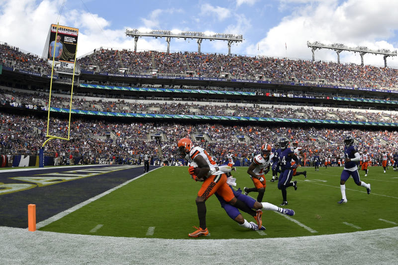 Cleveland Browns receiver Jarvis Landry was injured at the end of this play last Sunday vs. Baltimore. (AP)