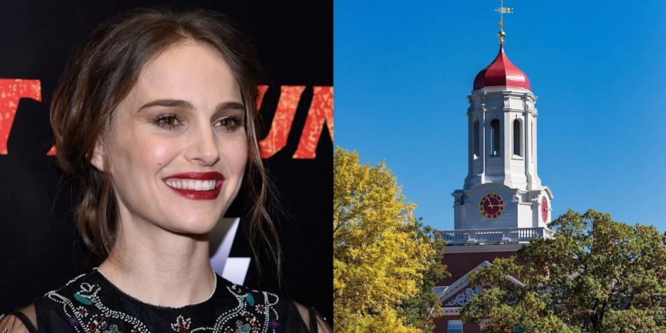 """<p><strong>Harvard University</strong></p><p> In an interview with the <em>New York Post</em> in 1999, Portman said, """"I don't care if [college] ruins my career. I'd rather be smart than a movie star."""" She later graduated from Harvard. In 2015, <a href=""""https://www.marieclaire.com/celebrity/news/a14555/natalie-portman-harvard-speech/"""" rel=""""nofollow noopener"""" target=""""_blank"""" data-ylk=""""slk:she addressed the graduating class"""" class=""""link rapid-noclick-resp"""">she addressed the graduating class</a> at Harvard's Senior Class Day ceremony.</p>"""