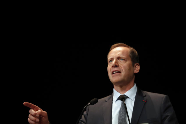 Tour de France director Christian Prudhomme delivers a speech during the presentation of the Tour de France 2020 cycling race, in Paris, Tuesday Oct. 15, 2019. The 107th edition of the race starts on June 27 2019 to end on the Champs-Elysees avenue on July 19. (AP Photo/Thibault Camus)