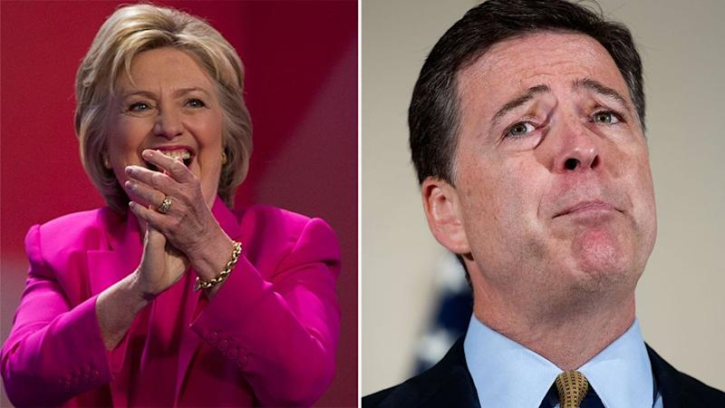 FBI Director James Comey (right) has not been able to review emails that have been linked to the investigation into Hillary Clinton's (left) private email server because the bureau didn't have a search warrant to. Photo: AP