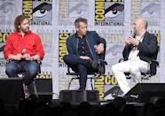 <p>T.J. Miller, Ben Mendelsohn, and screenwriter Zak Penn at the Warner Bros. Pictures Presentation at Comic-Con on July 22, 2017 in San Diego. (Photo: Kevin Winter/Getty Images) </p>