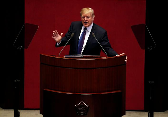 President Donald Trump spoke at the South Korean National Assembly in Seoul earlier this month to call for international cooperation to rein in Pyongyang. Meanwhile, he continued to mock North Korean leader Kim Jong Un on social media. (Photo: Jonathan Ernst / Reuters)