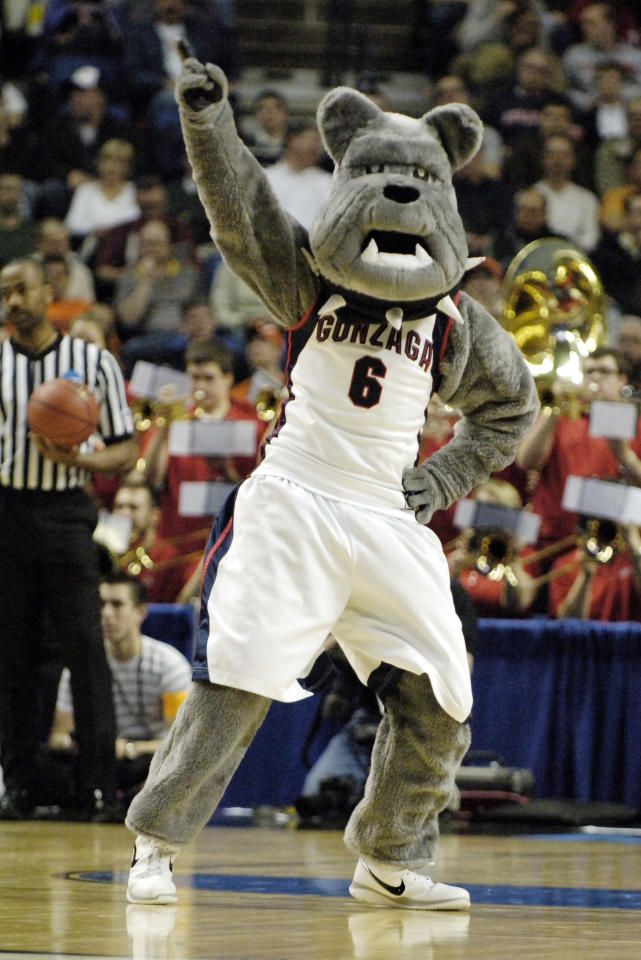 FILE - In this March 19, 2010, file photo, Gonzaga's Bulldog mascot cheers against Florida State during the second half of an NCAA first-round college basketball game in Buffalo, N.Y. (AP Photo/ Don Heupel, File)